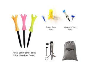Posma GTS019 Multi Senies Tee bundle set with 3pcs Petal Whirl Limit Tee + 3pcs Tower Tee + 3pcs Magnetic Tee + 6 In 1 Golf Multi Function All In One Golfers Tool + Flannel Storage Bag