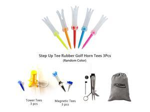 Posma GTS020 Multi Senies Tee bundle set with 3pcs Step Up Tee Rubber Golf Horn Tee + 3pcs Tower Tees + 3pcs Magnetic Tee + 6 In 1 Golf Multi Function All In One Golfers Tool + Flannel Storage Bag