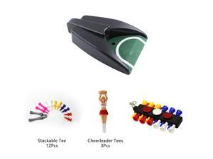 Posma PG010P Practice Training Cup Golf Automatic Putting Cup Bundle Set with 1pc Putting Cup + 1pc Tee Caddy w/ marker + 3 pcs Cheerleader Tees + 12pcs Castle Tees