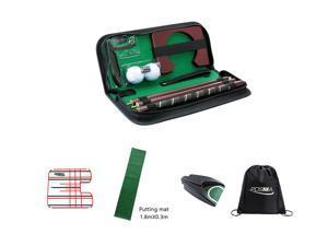 Posma PG020AB Golf Putter kit set with 1.8mX0.3m putting mat+auto retrun putting cup+small size golf putting mirror+cinch sack bag