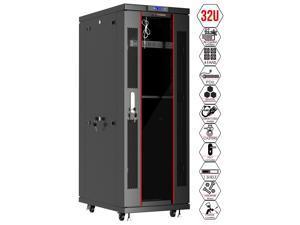 Server Rack - Locking Cabinet - Network Rack - Av Cabinet – 32 U - Rack Mount - Free Standing Network Rack- Server Cabinet - Caster Leveler - Rack Shelf - Cooling Fan - Thermostat – PDU – 39-inch Dept