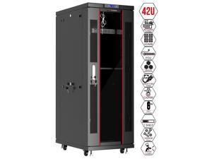 Server Rack - Locking Cabinet - Network Rack - Av Cabinet – 42 U - Rack Mount - Free Standing Network Rack- Server Cabinet - Caster Leveler - Rack Shelf - Cooling Fan - Thermostat – PDU – 39-inch Dept