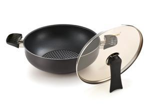 Happycall 5 Layer Diamond Nonstick Party Wok, 11inch, Stir Fry Pan, With Two Handles, Deep Frying, With Glass Lid
