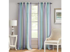 Spectrum Textured Sheer Rod Pocket Panel, Lilac Turquoise, 50x84 Inches
