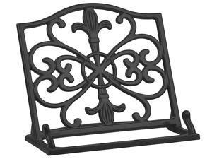 Home Basics Cast Iron Fleur De Lis Cookbook Stand, Black, 10.5x5.5x9 Inches