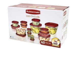 Rubbermaid Easy Find Lids 40-Piece Storage Containers Set, Clear-Red