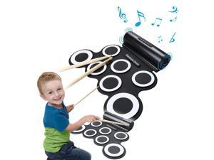 Battery & USB Powered Digital MIDI Portable Electronic Roll Up Drum Pad Set Built in Speaker 7 Pads for Kids Students Beginner