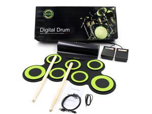 Portable Electronic Roll-Up Drum Kit Foldable Drum Set Built in Speaker With Drum Sticks Foot Pedals 7 Drum Pads  Headphone Jack For Practice Starters Kids