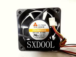 10PCS DC brushless cooling fan FD126025HB 6025 6CM 12V chassis cooler 60*60*25mm 4300RPM 25.4CFM