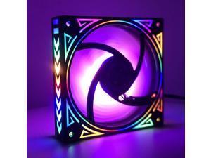 12cm LED fan rainbow iridescence 120mm fan 3pin+molex 4D 12V for pc computer set up gaming radiator cooling fan
