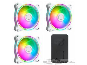 MasterFan MF120 Halo White Edition Cooler Master Duo-Ring Addressable RGB Lighting 120mm 3 Pack w/ 24 Independently-Controlled LEDS, Absorbing Rubber Pads, PWM Static Pressure for Computer Case