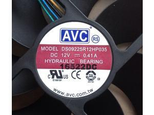 AVC DS09225R12HP035 with 12V 0.41A 9225 9025 9cm 9.2cm 92*92*25mm 4-Wires radiating fan square cooler