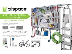 Allspace 63 Piece Utility Wall Organizer Panel Board and Accessory Set - 450048HF