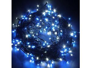 33ft 10m Christmas LED Fairy Twinkle String lights 80 LEDs with Controller for Chirstmas Tree,Garden,Patio, Party Xmas Festival Multi Strings Connectable Joint to long Black Wire US Plug Blue