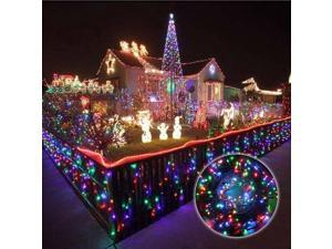 33ft 10m Christmas LED Fairy Twinkle String lights 80 LEDs with Controller for Chirstmas Tree,Garden,Patio, Party Xmas Festival Multi Strings Connectable Joint to long Black Wire US Plug MultiColor