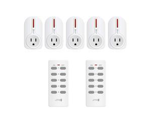 JTD 5 Pack Remote Control Outlet Switch 3rd Generation Energy Saving Auto-programmable Wireless Electrical Plug Switch for Household Appliances Lighting & Electrical Equipment (JTD-Plug-2nd-5x2)