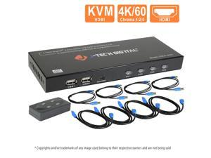 J-Tech Digital JTECH-KV41 4-Port HDMI USB KHDMI KVM Switch 4 Ports 4K@60Hz 4:2:0 HDMI and USB Cables Support Quick Switch USB 2.0 Hub HotKey Push Button Wired Desktop Controller Auto Scan