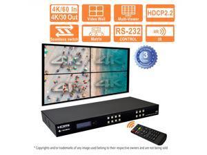 J-Tech Digital 4k 2X2 Video Wall Controller Multiviewer Seamless Matrix 4K@60Hz Input 4K30Hz output HDCP 2.2 [JTECH-VWM04]