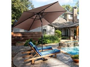 GoPlus 10FT Patio Umbrella 6 Ribs Market Steel Tilt W/ Crank Outdoor Garden Tan