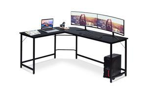 L Shaped Desk Corner Computer Desk PC Laptop Gaming Table Workstation Black