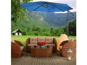 Costway 10' Hanging Umbrella Patio Sun Shade Offset Outdoor Market W/ Cross Base Blue