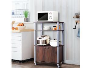 Costway Bakers Rack Microwave Oven Rack Shelves Kitchen Storage Organizer Metal White