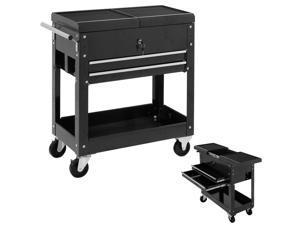 Costway Rolling Mechanics Tool Cart Slide Top Utility Storage Cabinet Organizer 2 Drawer