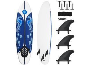 Costway 6' Surfboard Foamie Body Surfing Board W/3  Fins & Leash for Kids Adults White