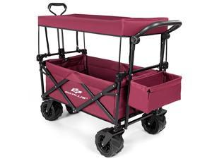 Goplus Collapsible Folding Wagon Cart W/ Canopy Outdoor Utility Garden Trolley Buggy Wine red