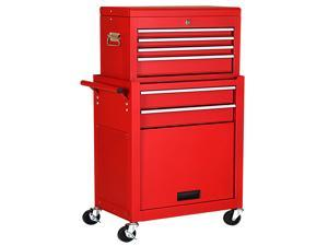 Costway 2 in 1 Rolling Cabinet Storage Chest Box Organizer w/ 6 Drawers Red