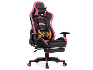 Massage Gaming Chair Reclining Racing Chair w/Lumbar Support &Footrest Pink