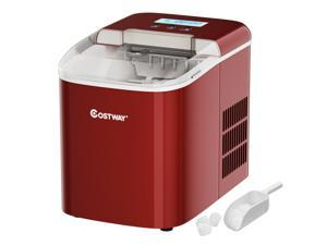Costway Portable Ice Maker Machine Countertop 26LBS/24H LCD Display w/ Ice Scoop Red