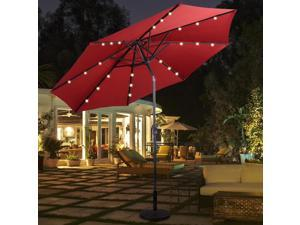 Costway 10ft Patio Solar Umbrella LED Patio Market Steel Tilt W/ Crank (Burgundy)