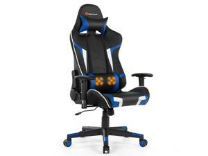 Massage Gaming Chair Reclining Racing Chair w/ Headrest and Lumbar Support Blue