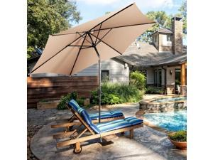 GoPlus 10FT Patio Umbrella 6 Ribs Market Steel Tilt W/ Crank Outdoor Garden Beige