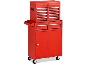 Costway 2 in 1 Tool Chest & Cabinet with 5 Sliding Drawers Rolling Garage Organizer Red