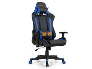 Massage Gaming Chair Reclining Racing Chair w/Lumbar Support and Headrest Blue