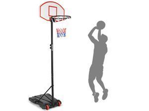Costway Adjustable Basketball Hoop System Stand Kid Indoor Outdoor Net Goal W/ Wheels