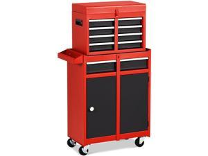Costway 2 in 1 Tool Chest & Cabinet with 5 Sliding Drawers Rolling Garage Box Organizer