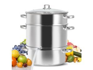 Costway 11-Quart Stainless Fruit Juicer Steamer Stove Top w/ Tempered Glass Lid