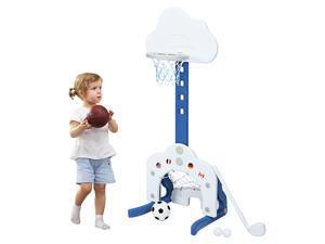 3-in-1 Kids Basketball Hoop Set Adjustable Sports Activity Center w/ Balls White