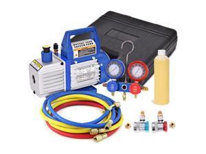 4CFM 1/3HP Air Vacuum Pump HVAC Refrigeration AC Manifold Gauge Set R134