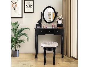 Costway Vanity Table Makeup Table Cushioned Mirror 5 Drawers Black