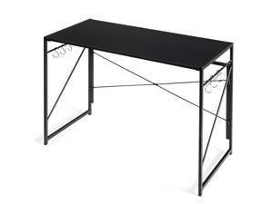 Costway Folding Computer Desk Writing Study Table w/6 Hooks Home Office Black
