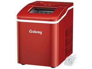 Costway Portable Ice Maker Machine Countertop 26Lbs/24H Self-cleaning w/ Scoop Red