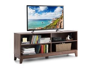 Costway 58'' Modern Wood TV Stand Console Storage Entertainment Media Center  Walnut