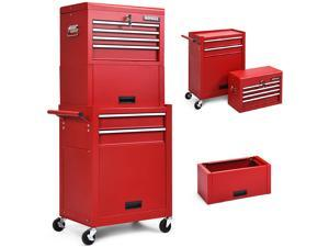 Costway 6-Drawer Rolling Tool Chest Storage Cabinet w/Riser Red