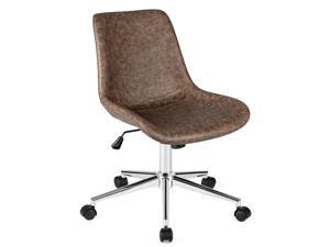 Costway Mid Back Office Chair Armless Adjustable PU Leather Task Swivel Chair
