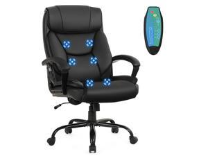 Costway Big & Tall 500lb Massage Office Chair Executive PU Leather Computer Desk Chair