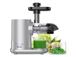 Costway Horizontal Slow Masticating Juicer Cold Press Extractor w/ Brush Silver